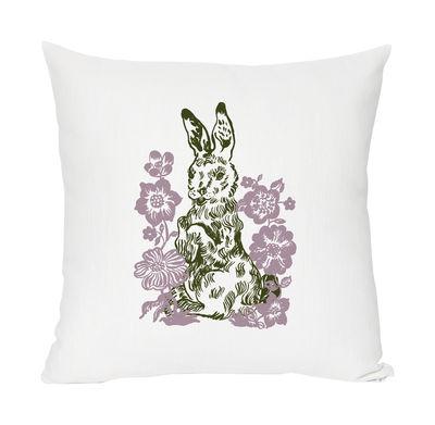Interni - Per bambini - Cuscino Rabbit - lino & cotone serigrafato di Domestic - Coniglio - Bianco, malva & verde bottiglia - Cotone, Lino