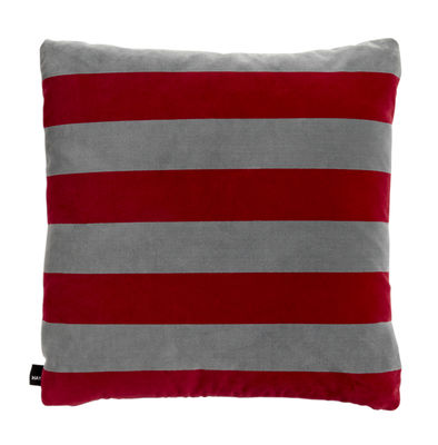Decoration - Cushions & Poufs - Soft Stripe Cushion - / 50 x 50 cm - Velours by Hay - Fuschia -  Plumes, Cotton