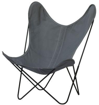 Mobilier - Fauteuils - Fauteuil AA Butterfly OUTDOOR / Coton - Structure noire - AA-New Design - Gris cendre / Structure noire - Acier thermolaqué, Coton traité pour l'extérieur