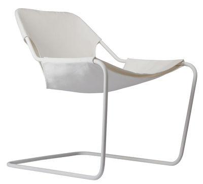 Mobilier - Fauteuils - Fauteuil Paulistano Outdoor / Pour l'extérieur - Objekto - Blanc / Structure blanche - Carbone, Coton