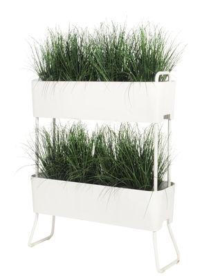 Jardinière Greens Duo / Set de 2 à empiler -  L 100 x H 119 cm - Maiori blanc en métal