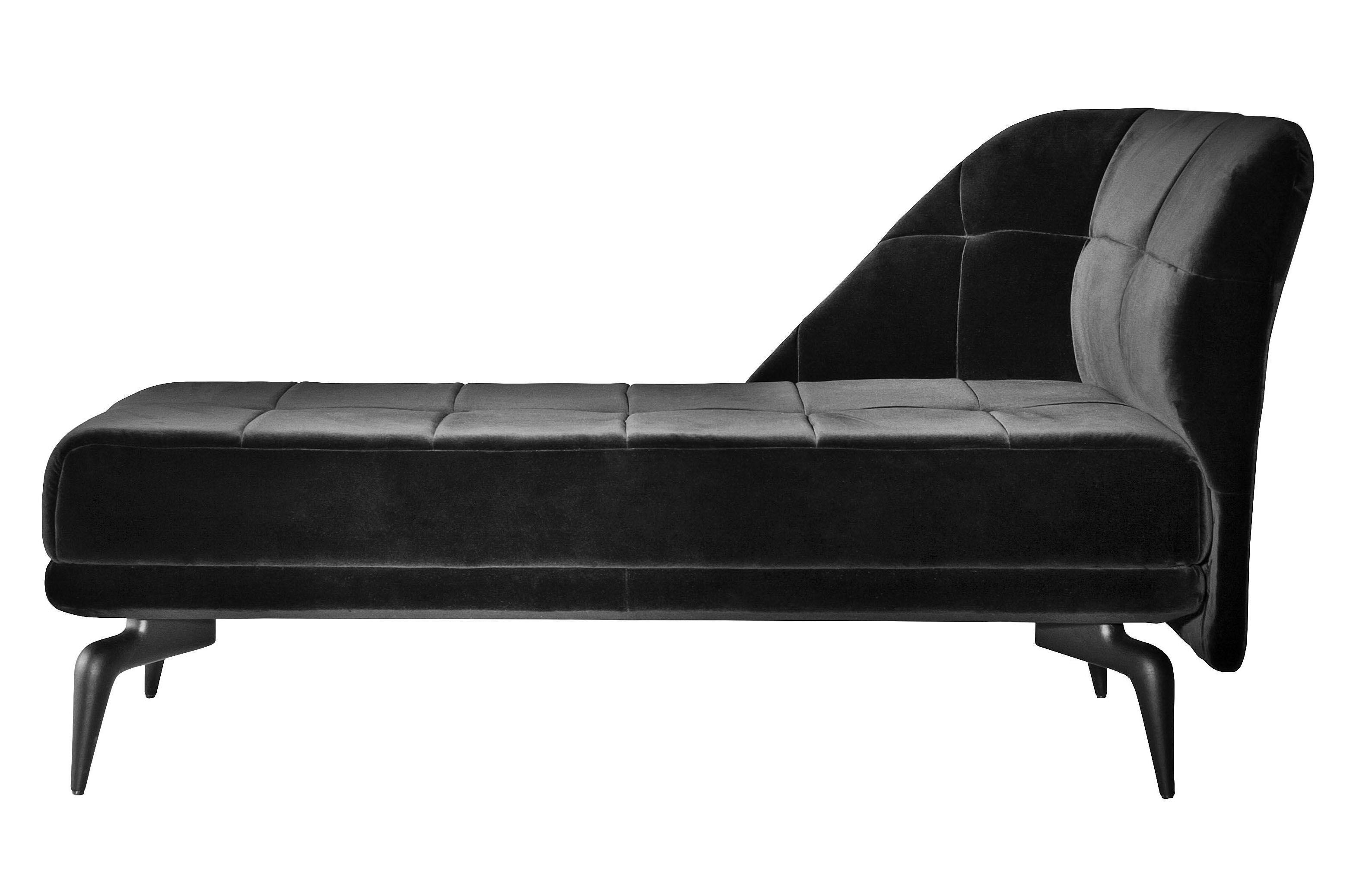 Mobilier - Canapés - Méridienne Leeon / accoudoir gauche - L 151 cm - Driade - Velours noir - Aluminium laqué, Velours