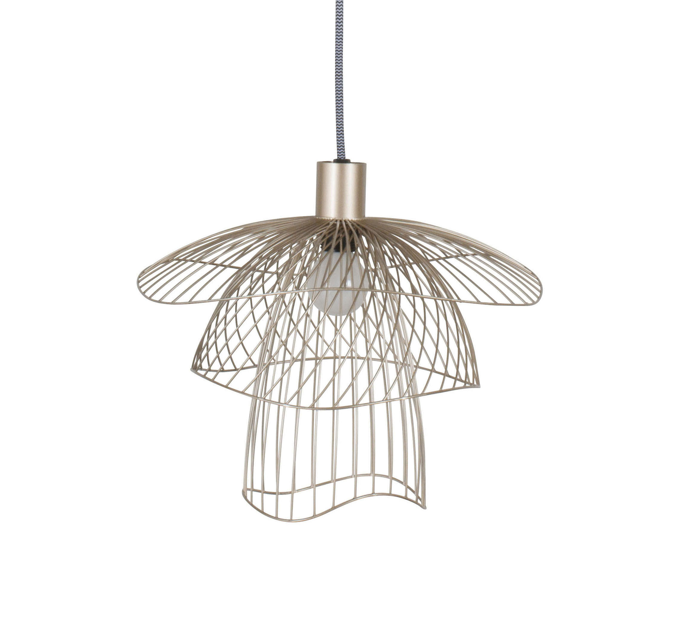 Lighting - Pendant Lighting - Papillon XS Pendant - / Ø 35 cm by Forestier - Champagne - Powder coated steel