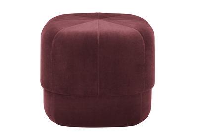 Furniture - Poufs & Floor Cushions - Circus Small Pouf - Coffee table - Small - Ø 46 cm by Normann Copenhagen - Dark red velour - Cotton, Velvet
