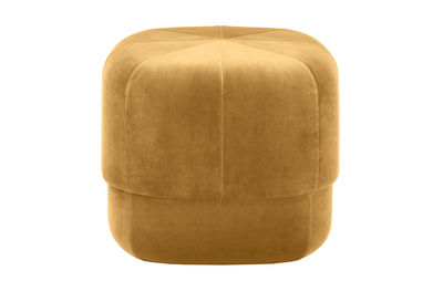 Furniture - Poufs & Floor Cushions - Circus Small Pouf - Ø 46 cm - Velvet by Normann Copenhagen - Yellow - Foam, Velvet, Wood