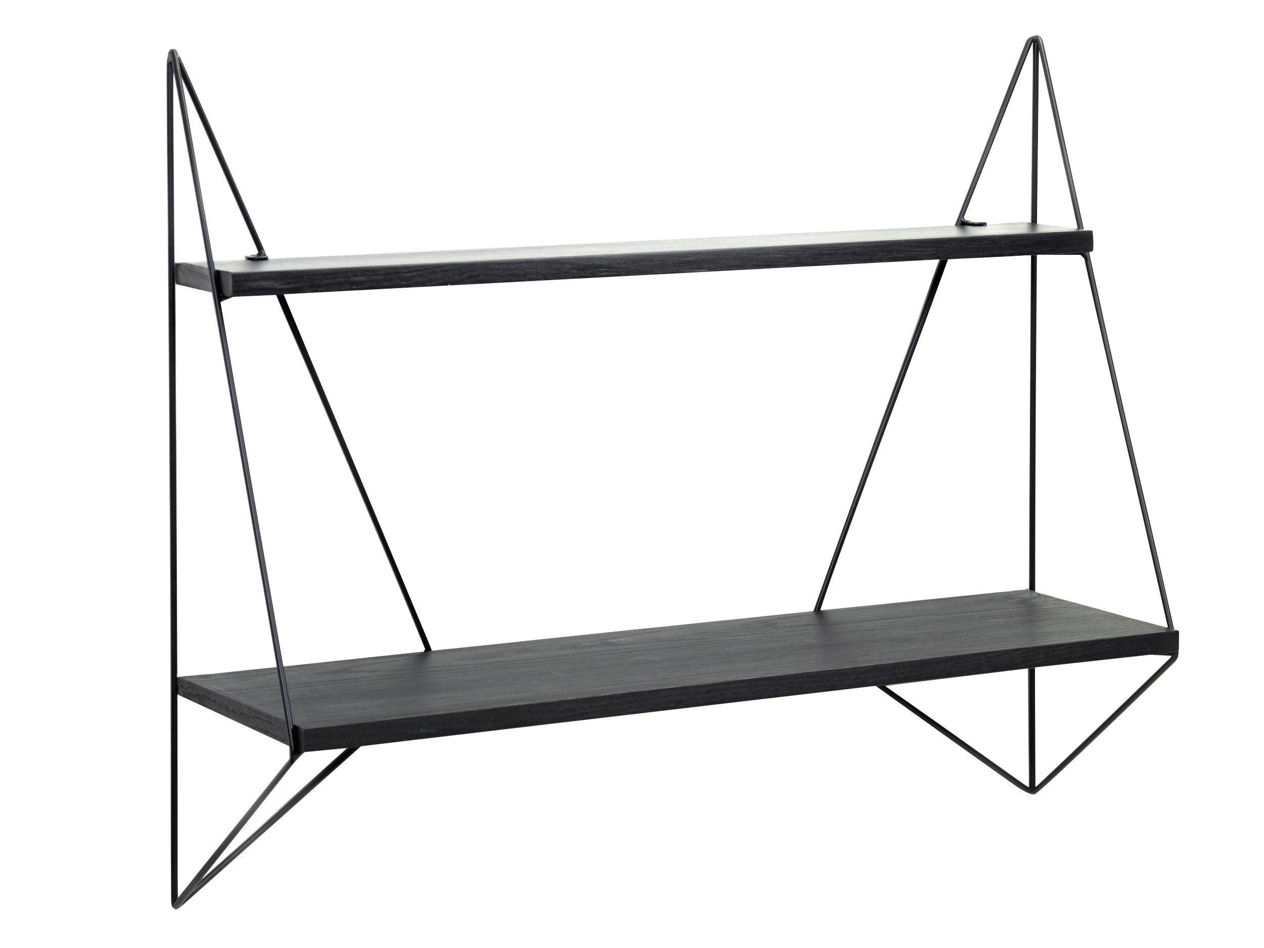 Furniture - Bookcases & Bookshelves - Butterfly Simple Shelf - L 75 x H 64 cm by Serax - Black - Lacquered metal, Tinted oak plywood