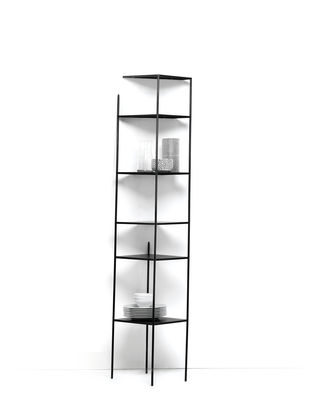 Furniture - Bookcases & Bookshelves - Mama' wall Shelf - / Trompe l'œil - H 186 cm by Mogg - Black / Wall - Painted metal