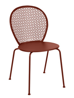 Furniture - Chairs - Lorette Stacking chair - / Perforated metal by Fermob - Ochre red - Lacquered steel