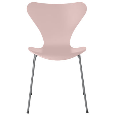Furniture - Chairs - Série 7 Stacking chair - / Tinted ash by Fritz Hansen - Pale pink / Chrome legs - Chromed steel, Plywood: tinted ash