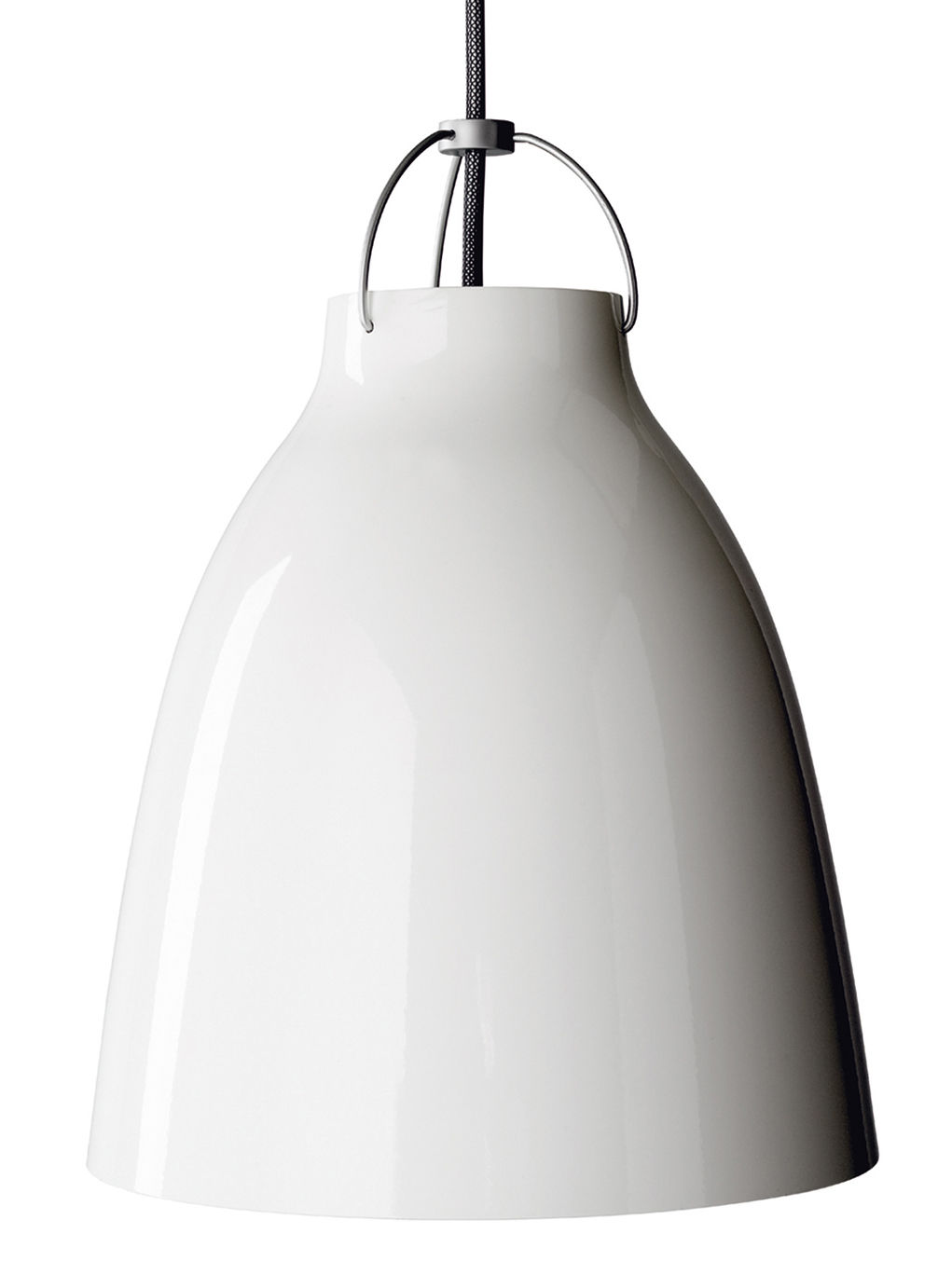 Luminaire - Suspensions - Suspension Caravaggio XS / Ø 11 cm - Lightyears - Blanc brillant / Câble gris - Aluminium laqué