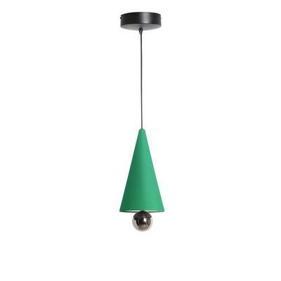 Luminaire - Suspensions - Suspension Cherry Small / LED - Ø 16 x H 38 cm - Petite Friture - Vert menthe / Sphère titanium - Aluminium