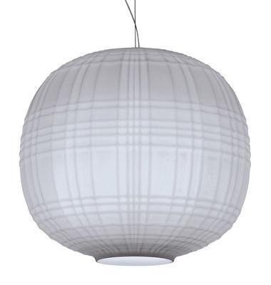 Luminaire - Suspensions - Suspension Tartan LED / Ø 35 cm - Foscarini - Gris - Verre soufflé en relief et acidé