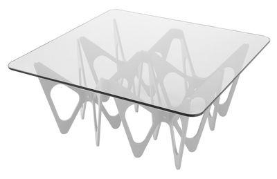 Table basse Butterfly / Carrée - 90 x 90 cm - Zanotta blanc/transparent en verre/bois
