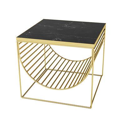 Arredamento - Tavolini  - Tavolino d'appoggio Sino - / Porta riviste - Marmo di AYTM - Or / Marbre noir - Acciaio, Marmo