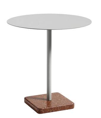 Table ronde Terrazzo Hay - Gris clair / Base terrazzo rouge - h 74 x ...
