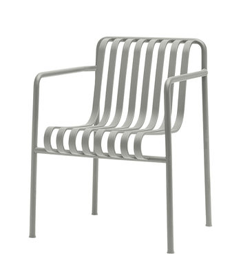 Furniture - Chairs - Palissade Dining Armchair - Large - R & E Bouroullec by Hay - Light grey - Electro galvanized steel, Peinture époxy