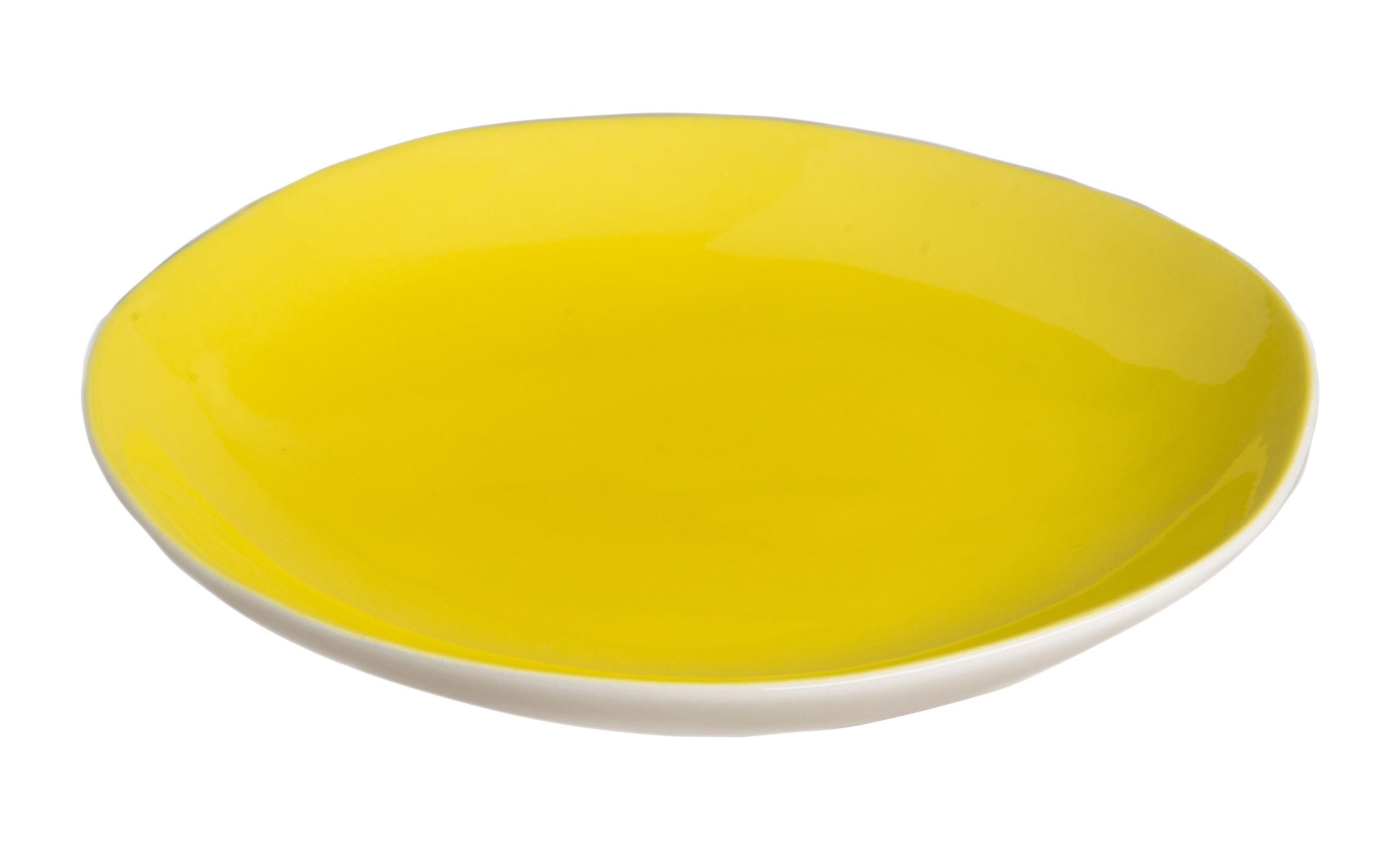 Arts de la table - Assiettes - Assiette à dessert Bazelaire / Ø 19cm- Fait main - Sentou Edition - Jaune - Faïence émaillée