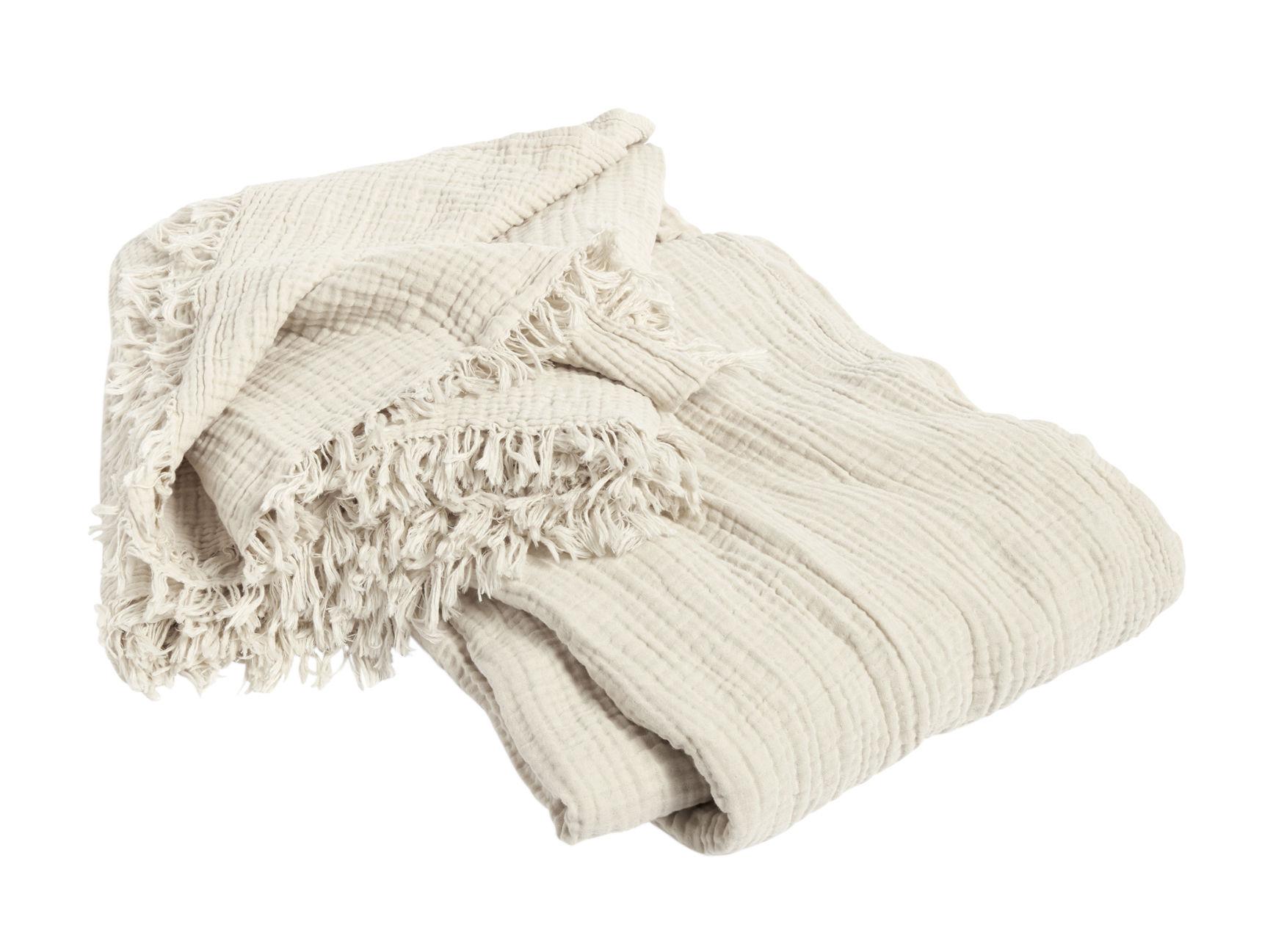 Decoration - Bedding & Bath Towels - Crinkle Bedspread - / Pleated cotton - 270 x 270 cm by Hay - Cream - Coton plissé