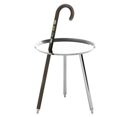 Möbel - Couchtische - Urbanhike Beistelltisch - Ø 44 cm - Moooi - Verchromter Stahl, Nussbaum - Aluminium, Stahl