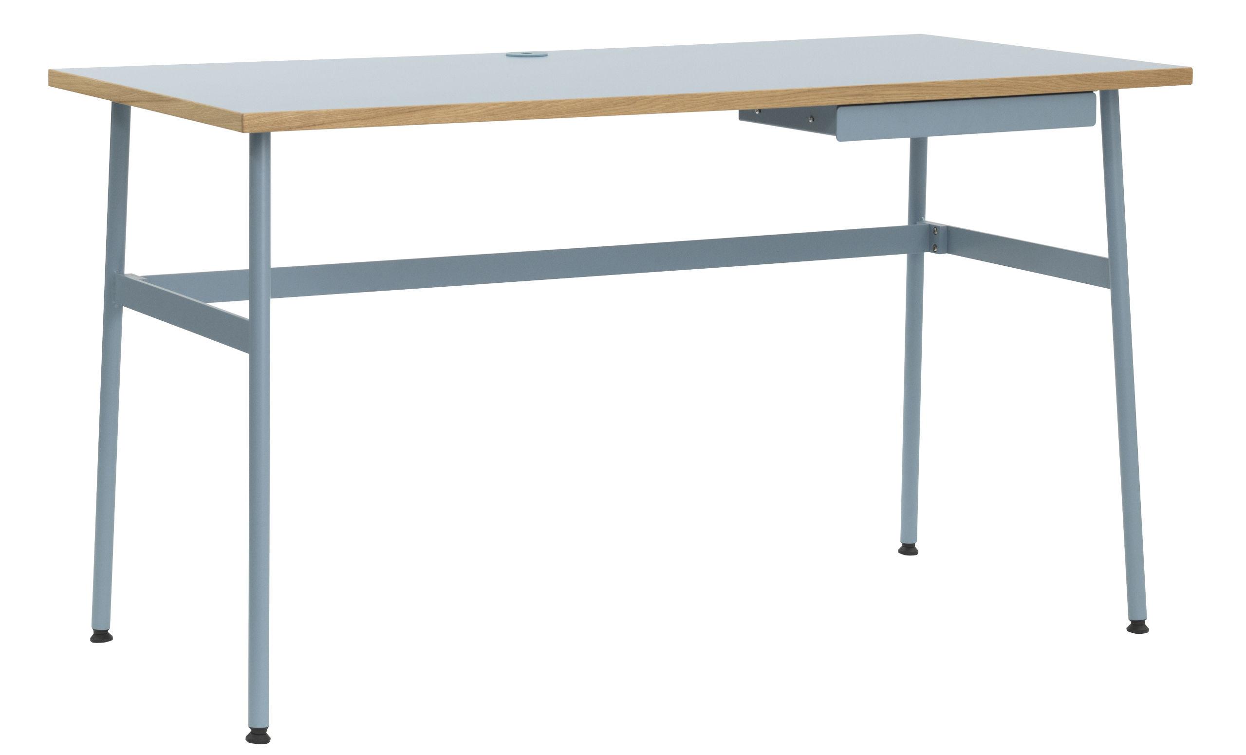 Mobilier - Bureaux - Bureau Journal / 1 tiroir - Normann Copenhagen - Bleu clair - Acier laqué, Stratifié mélaminé