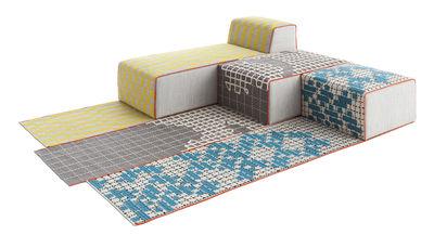 Canapé modulable n° 3 Bandas / 1 tapis + 1 pouf Small + 1 pouf Large + 1 méridienne - Gan jaune,gris,turquoise en tissu