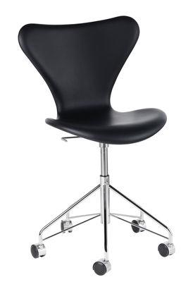 Mobilier - Fauteuils de bureau - Chaise pivotante Série 7 / Cuir - Fritz Hansen - Cuir noir / Chromé - Acier chromé, Contreplaqué de bois, Cuir