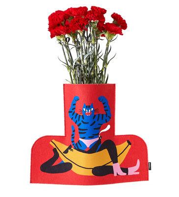Image of Copertura per vaso Flower Power Large - / H 35 cm - Feltro di Sancal - Blu/Rosso/Multicolore - Tessuto