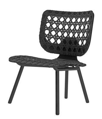 Mobilier - Fauteuils - Fauteuil Aërias Lounge / Cannage en cuir tressé - ClassiCon - Noir - Acier laqué, Bois, Cuir