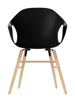 Chaise Elephant Wood Coque plastique pieds bois Kristalia noir en matière plastique