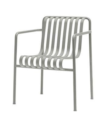 Mobilier - Chaises, fauteuils de salle à manger - Fauteuil Palissade Dining / Large - R & E Bouroullec - Hay - Fauteuil / Gris clair - Acier électro-galvanisé, Peinture époxy
