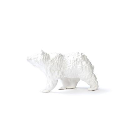 Déco - Objets déco et cadres-photos - Figurine Orso Small / Céramique modelée 3D - L 18 cm - Moustache - Blanc - Céramique émaillée