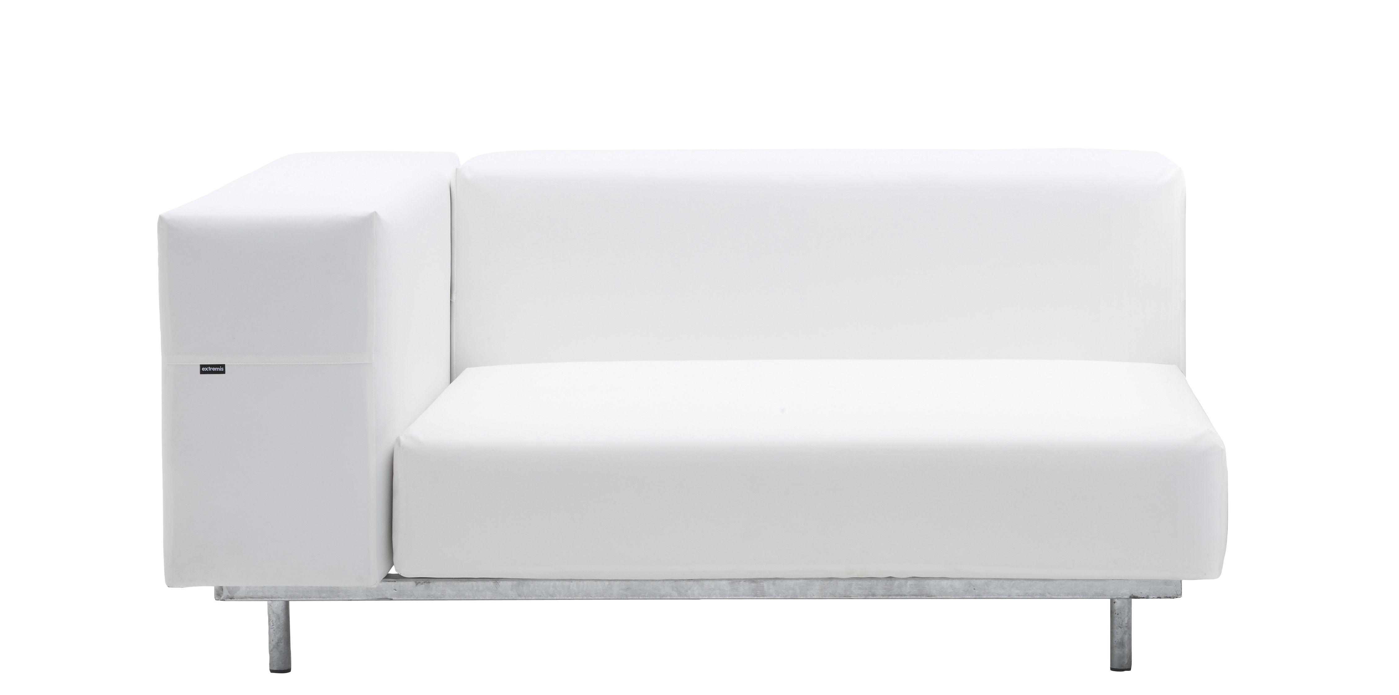 Outdoor - Sofas und Lounge Sessel - Walrus Gepolsterter Sessel / Eck-Element - Extremis - Eckmodul / weiß - galvanisierter Stahl, Polyurethan-Schaum, Toile Tarpaulin