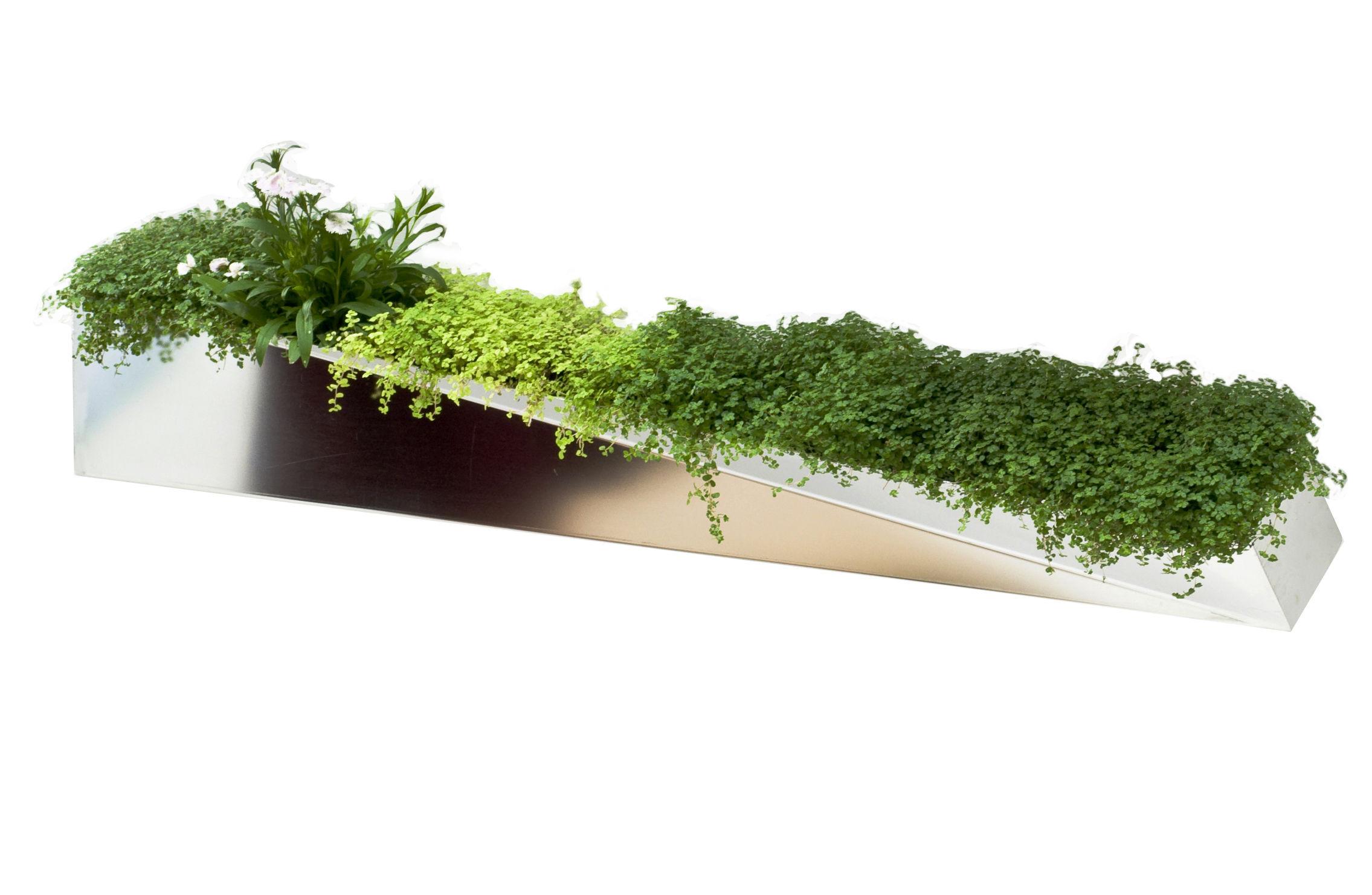 Déco - Pots et plantes - Jardinière murale Miroir en Herbe / Acier - L 110 cm - Compagnie - Inox - Acier poli