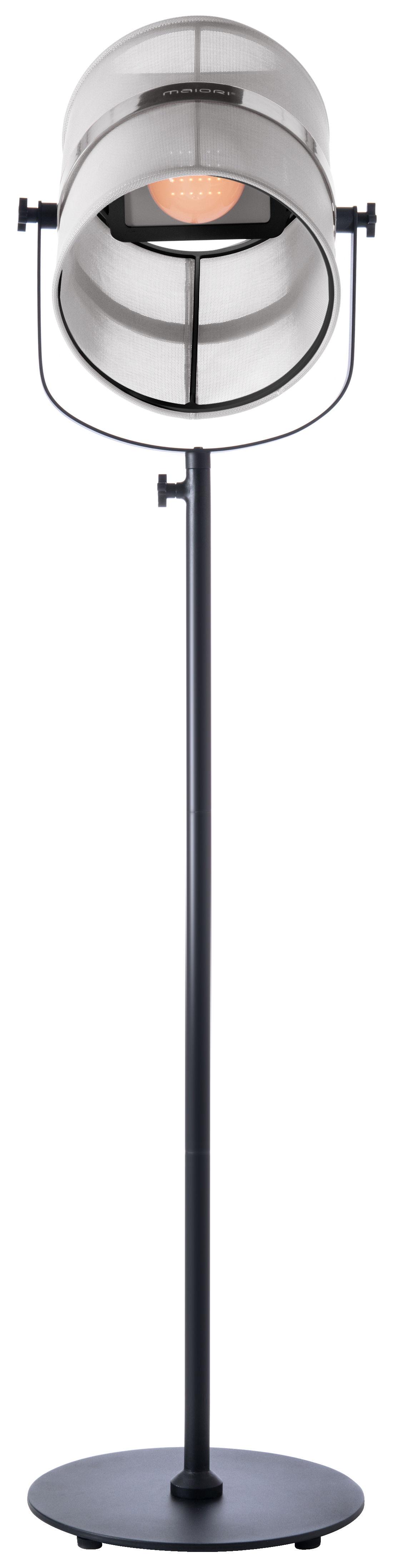 Luminaire - Lampadaires - Lampadaire solaire La Lampe Paris LED / Sans fil - Maiori - Blanc / Pied noir - Aluminium peint, Tissu