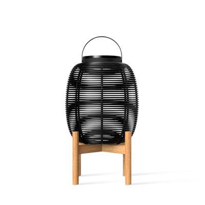Luminaire - Lampes de table - Lampe solaire Tika Small / Lanterne LED - H 59 cm - Vincent Sheppard - H 59 cm / Noir & teck - Acier thermolaqué, Osier polyéthylène, Teck