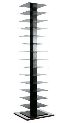 Arredamento - Scaffali e librerie - Libreria girevole Ptolomeo - 4 lati - Disposizione orizzontale di Opinion Ciatti - Nero / Acciaio - H 197 cm - Acciaio laccato