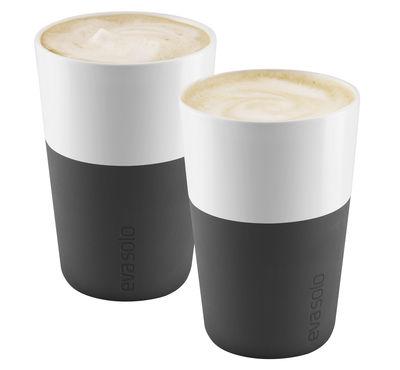 Arts de la table - Tasses et mugs - Mug Cafe Latte / Set de 2 - 360 ml - Eva Solo - Noir carbone - Porcelaine, Silicone