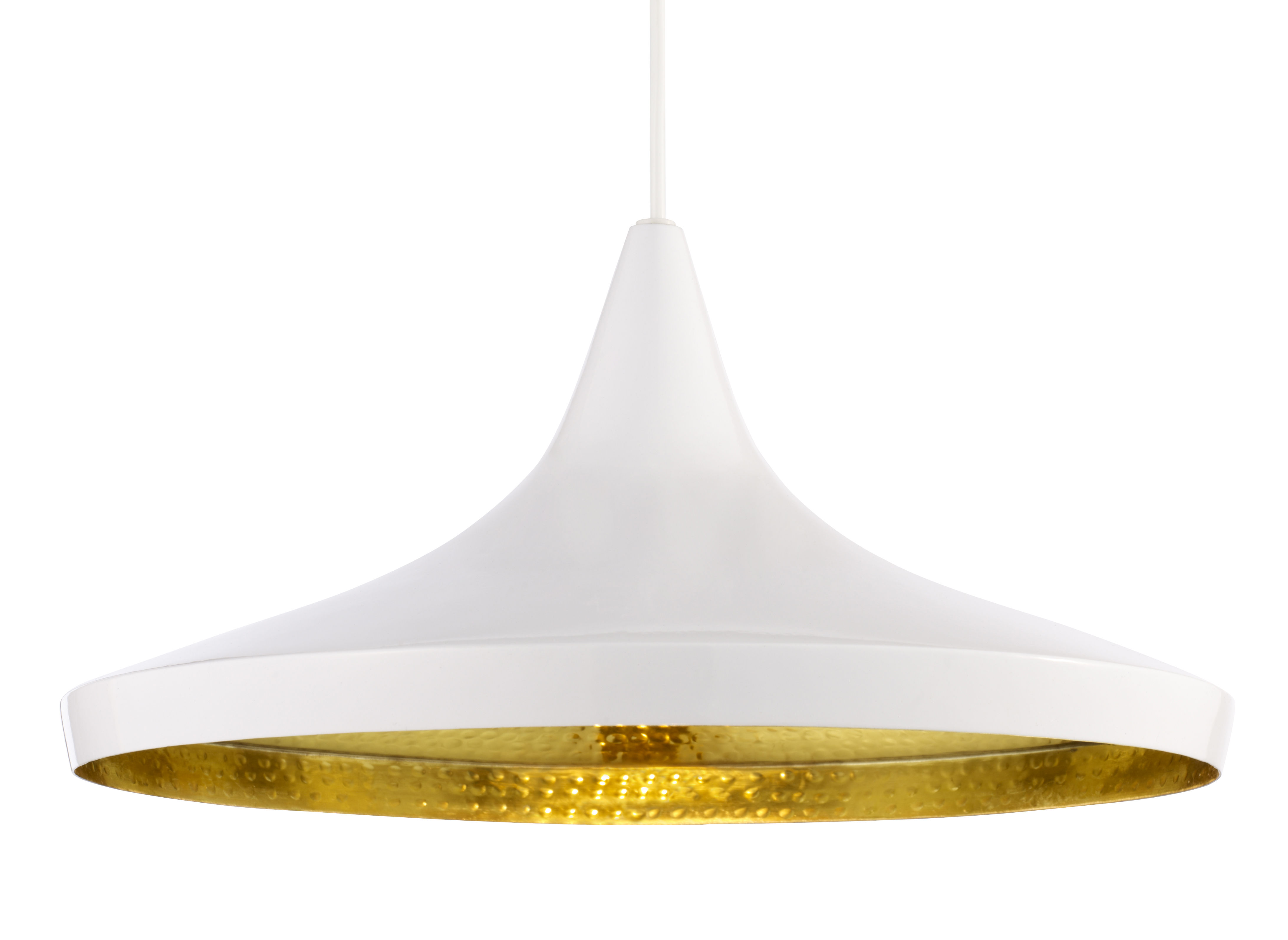 Lighting - Pendant Lighting - Beat Wide Pendant - Wide by Tom Dixon - White - Brass