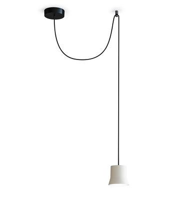 Lighting - Pendant Lighting - Gio Light Décentrée Pendant - / LED - Ø 10.7 cm by Artemide - White / Black cable - Aluminium, Glass