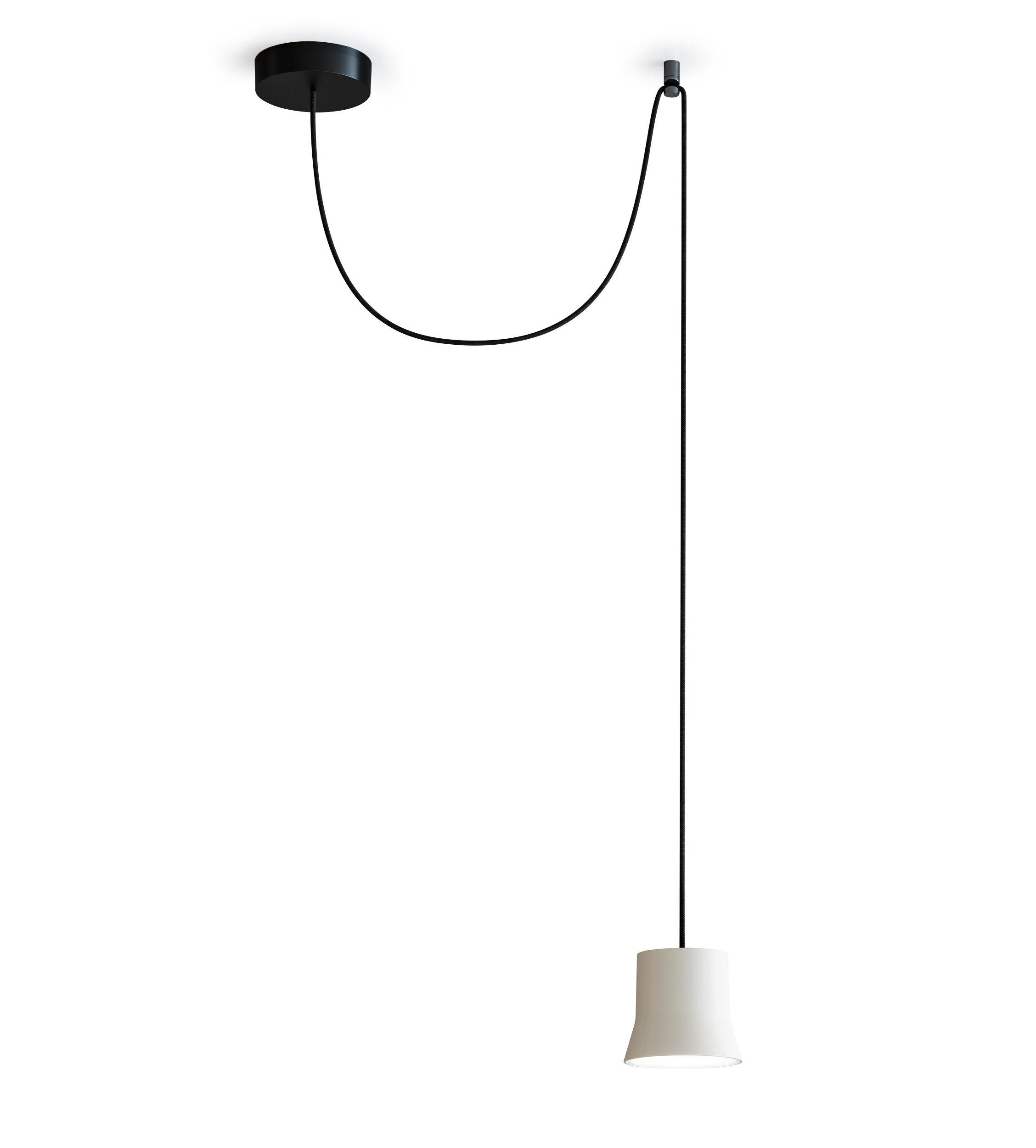 Leuchten - Pendelleuchten - Gio Light Décentrée Pendelleuchte / LED - Ø 10,7 cm - Artemide - Weiß / schwarzes Stromkabel - Aluminium, Glas