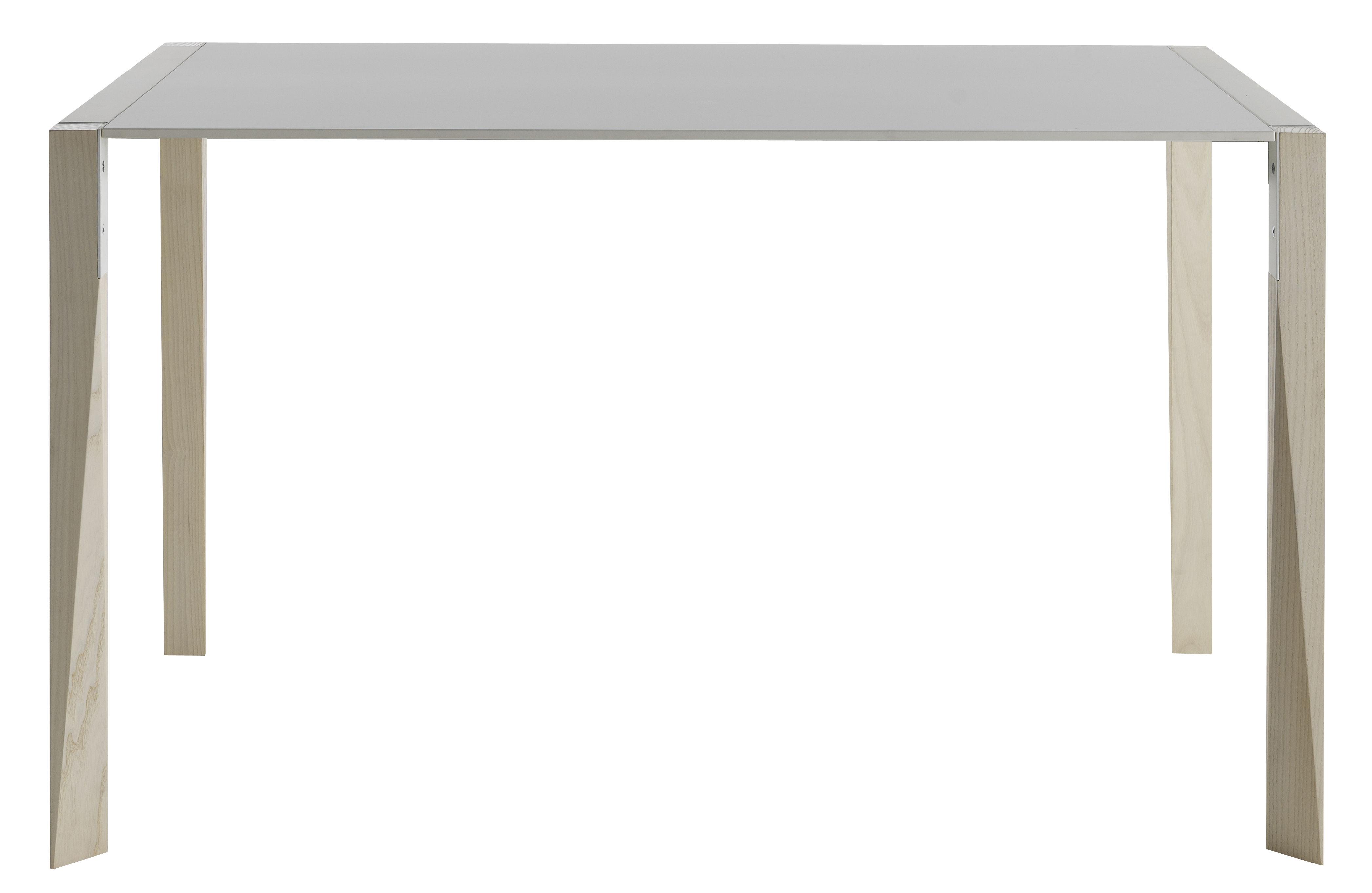 Trends - Must-have Büro - Tango rechteckiger Tisch / 90 bis 125 cm - Tischplatte Fenix-NTM® - Horm - Weiß / Tischbeine: Esche, gebleicht - Fenix-NTM®, geschichtet, Gebleichte Esche, lackiertes Metall