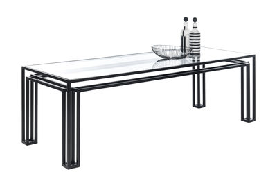 Furniture - Dining Tables - Hotline Rectangular table - / 200 x 75 cm by Mogg - Black - Glass, Painted metal