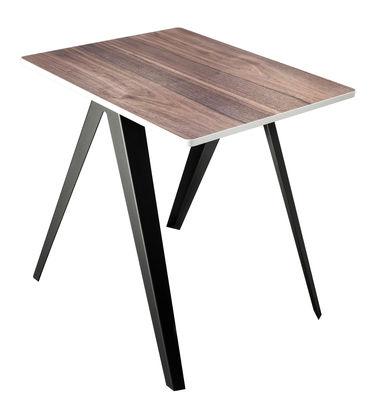 Furniture - Dining Tables - Sanba Rectangular table - L 75 x H 76 cm by Serax - Black / Tray walnut / White frame - Polyurethane, Steel, Walnut plywood