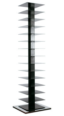 Furniture - Bookcases & Bookshelves - Ptolomeo Rotating bookshelf - 4 sides - Horizontal storage by Opinion Ciatti - Polished steel - Black - H 197 cm - Lacquered steel