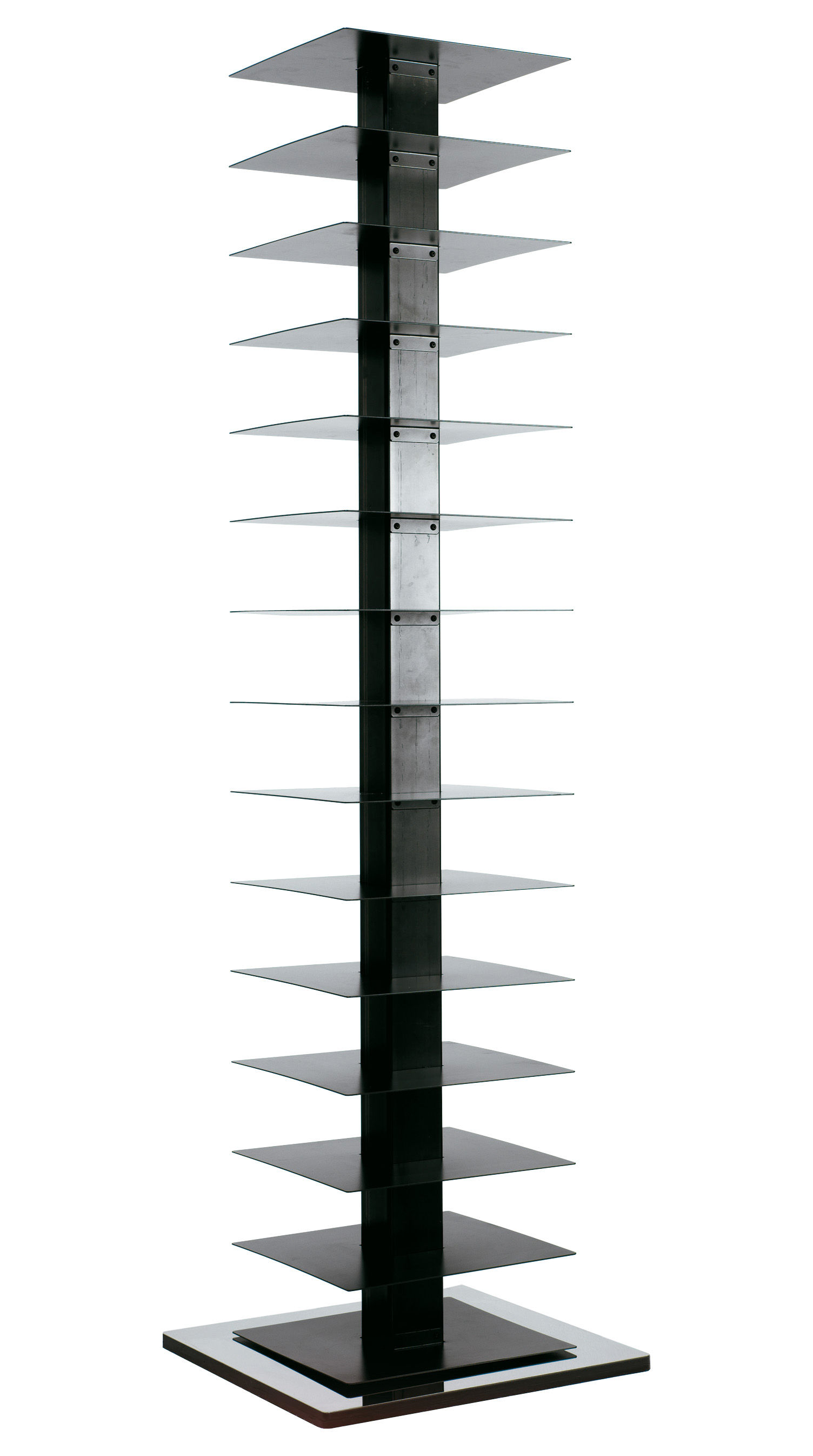 Furniture - Bookcases & Bookshelves - Ptolomeo Rotating bookshelf - 4 sides - Horizontal storage by Opinion Ciatti - Polished steel - Black - H 197 cm - Lacquered steel
