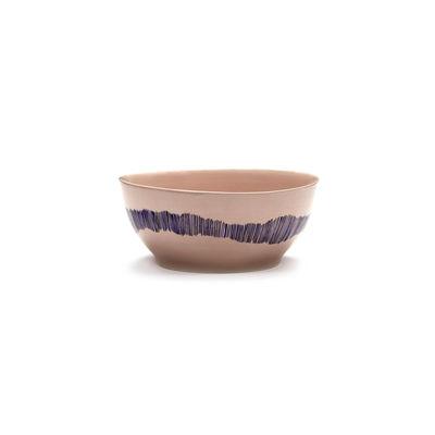 Tischkultur - Salatschüsseln und Schalen - Feast Schale Small / Ø 16 x H 7,5 cm - Serax - Striche / Rosa & blau - emaillierter Sandstein