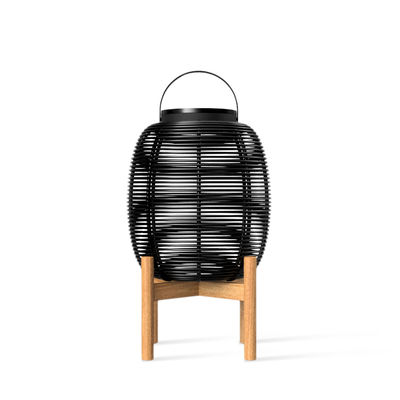 Lighting - Table Lamps - Tika Small Solar lamp - / LED lantern - H 59 cm by Vincent Sheppard - H 59 cm / Black & teak - Polythene wicker, Powder coated steel, Teak