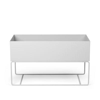 Furniture - Bookcases & Bookshelves - Plant Box Large Standing flowerpot - / L 77 x H 45 cm x Depth. 34 cm by Ferm Living - Light grey - Epoxy lacquered steel