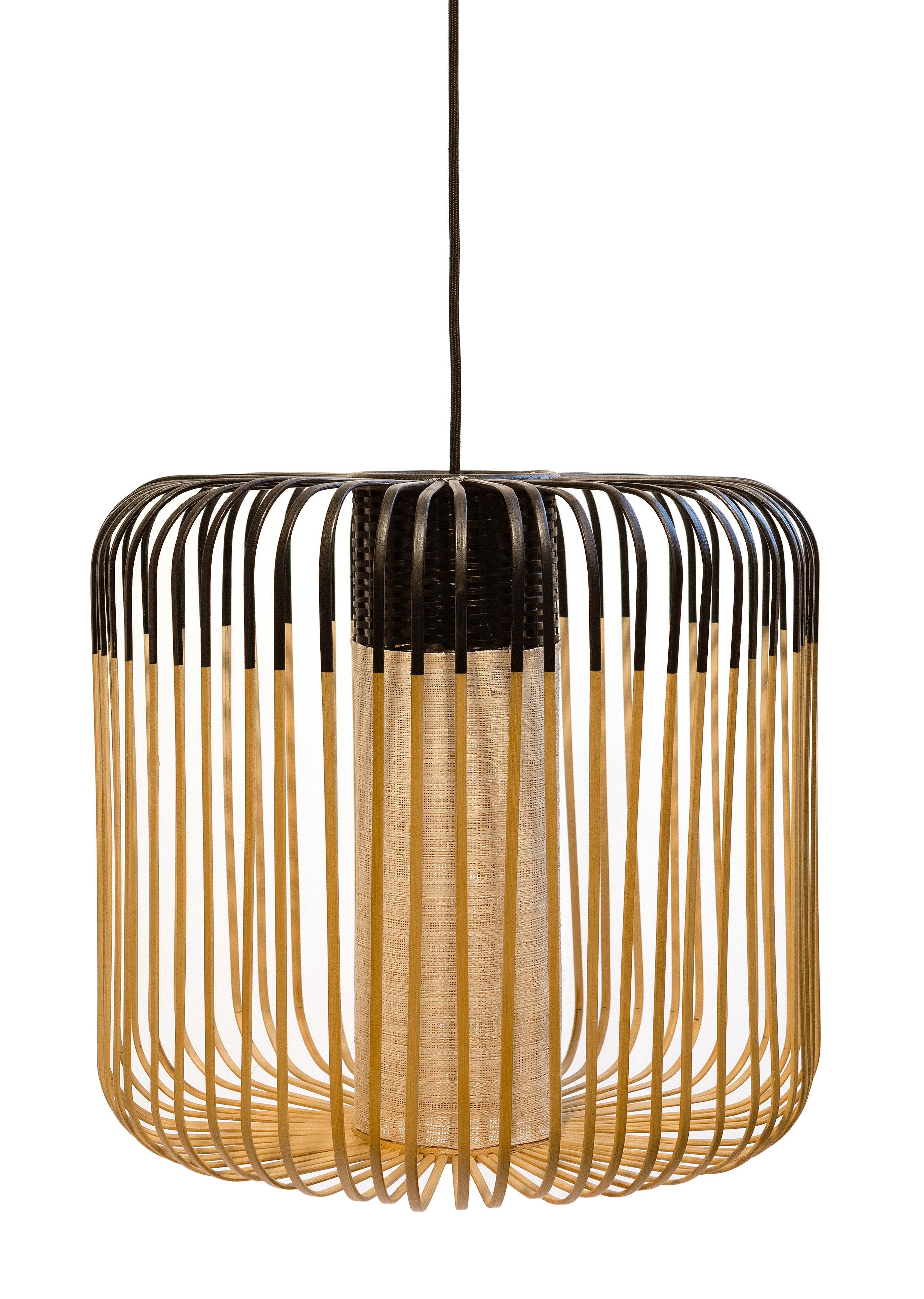 Luminaire - Suspensions - Suspension Bamboo Light M / H 40 x Ø 45 cm - Forestier - Noir / Naturel - Bambou naturel, Métal, Tissu