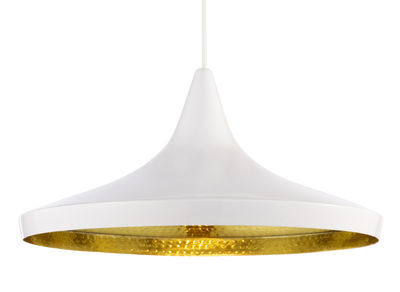Luminaire - Suspensions - Suspension Beat Wide / Ø 36 cm x H 16 cm - Tom Dixon - Blanc / intérieur doré - Laiton